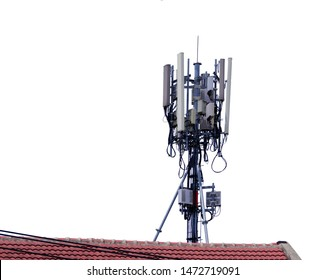 Telecommunication tower of 4G and 5G cellular. Base Station or Base Transceiver Station. Wireless Communication Antenna Transmitter. Telecommunication tower with antennas and white background.