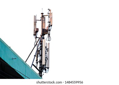 Telecommunication tower of 4G and 5G cellular. Macro Base Station or Base Transceiver Station. Wireless Communication Antenna Transmitter.  - Shutterstock ID 1484559956