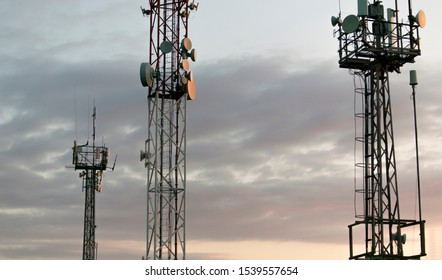 Telecommunication tower of 4G and 5G cellular. Base Station or Base Transceiver Station. Wireless Communication Antenna Transmitter. Telecommunication tower with antennas against sky.