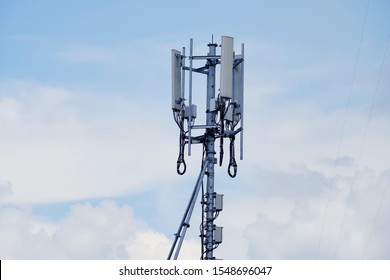 Telecommunication tower of 4G and 5G cellular. Cell Site Base Station. Wireless Communication Antenna Transmitter. Telecommunication tower with antennas