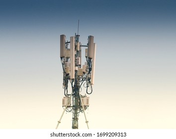 Telecommunication tower of 4G and 5G cellular. Cell Site Base Station. Wireless Communication Antenna Transmitter. Telecommunication tower with antennas.