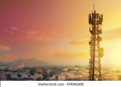 Telecommunication tower Antenna at at city