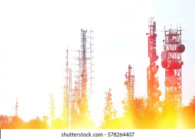 Telecommunication tower Antenna with fire and flames effects. Information concept.