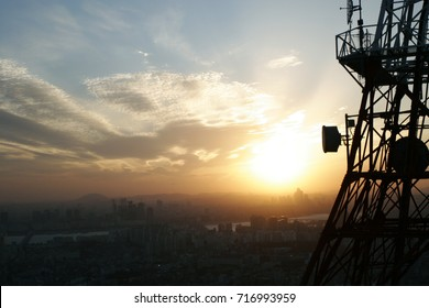 Telecommunication tower with beautiful sunset from South Korea