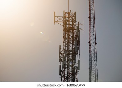 Telecommunication tower with a blue background Sky antenna Radio and satellite Communication technology. Telecommunications industry Mobile network or telecommunications 4g
