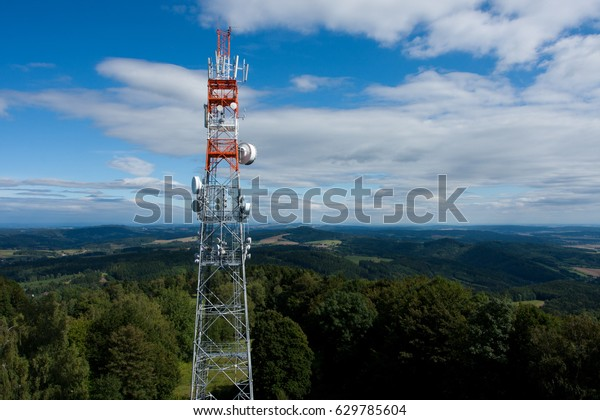 Telecommunication tower and blue sky