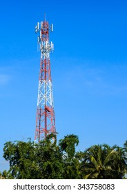 Telecommunication tower with the blue sky background