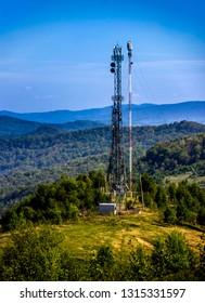 a telecommunication tower at the Carpathian mountains, national park Skolevski beskidy, Lviv region of Western Ukraine