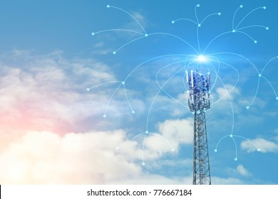Telecommunication tower with copy space.Digital wireless connection system.Development of communication systems in urban areas.Modern Business Communication Concept.Antenna.