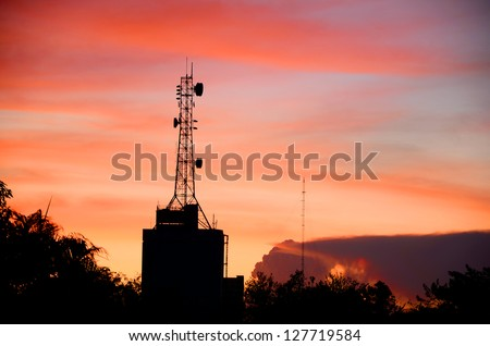 Telecommunication Tower in Evening Light.