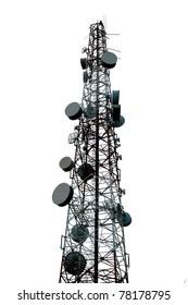 Telecommunication tower isolated on white background.