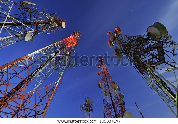 Telecommunication tower with night sky