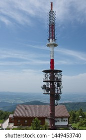 Telecommunication tower on the summit of Radhost in Beskydy in Czech republic
