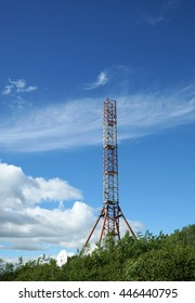 Telecommunication tower over blue sky