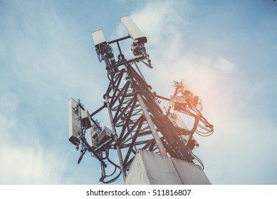 Telecommunication tower with retro effect.