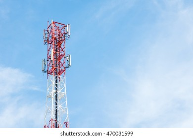 Telecommunication tower and sky blue.