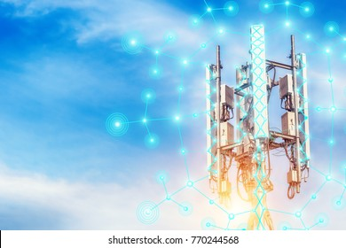 Telecommunication tower.Digital wireless connection system.Development of communication systems in rural areas.Modern Business Communication Concept.Antenna.