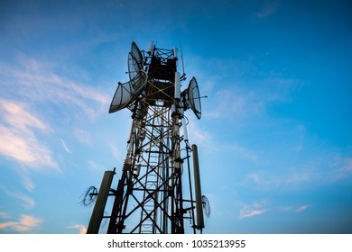 Telecommunications antenna for radio, television and telephone with blue sky