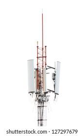 Telecommunications pole isolated