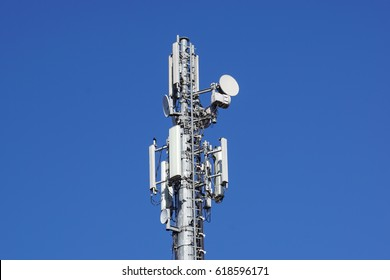 Telecommunications tower antenna cells for mobile communications.