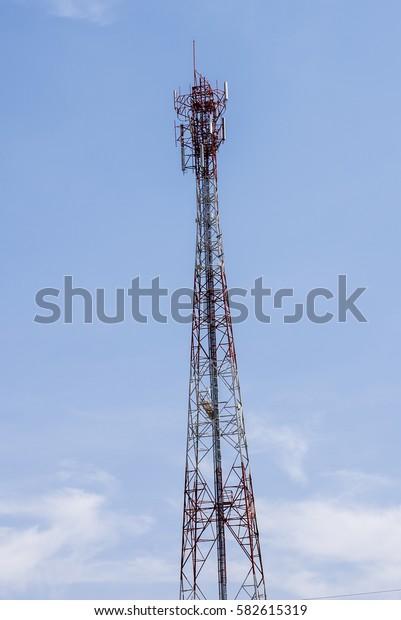 Telecommunications tower and satellite dish telecom network