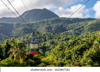 Teleferico in Puerto Plata, Dominican Republic, offers the visitor a panoramic view of the city descending from the hill (779 m above sea level).