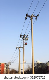 telegraph pole with blue sky background