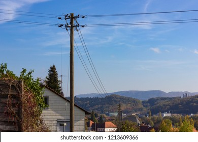 telegraph poles on blue sky sunhine day in south germany