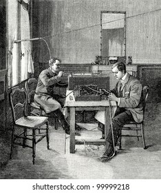 """Telegraph: telegrams reception in England. Engraving by  Shyubler. Published in magazine """"Niva"""", publishing house A.F. Marx, St. Petersburg, Russia, 1899"""