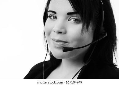 Telemarketing headset woman  smiling happy talking in hands free headset device.