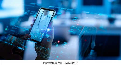 Telemedicine concept,Hand holding smartphone Medical Doctor online communicating the patient on VR medical interface with Internet consultation technology. - Shutterstock ID 1739736104