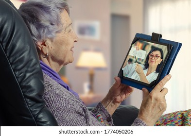 Telemedicine doctor explains to elderly patient that determining her field of view (FOV) helps early topical diagnosis in geriatric neurology
