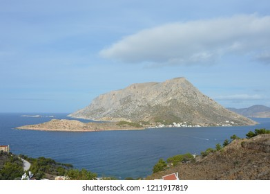 Telendos Island as seen from Masouri area in Kalymnos,Greece. Telendos was joined to Kalymnos, becoming separated from it in the 6th century AD following a series of earthquakes.