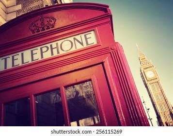 Telephone Booth Big Ben Travel Destinations Concept