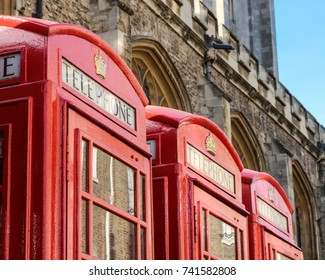 Telephone boxes outside Great St. Mary's Church, Market Square, Cambridge, UK