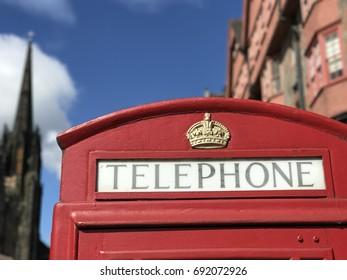 Telephone cell in Edinburgh Scotland