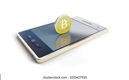 telephone with coin bitcoin on screen on a white background 3D illustration, 3D rendering