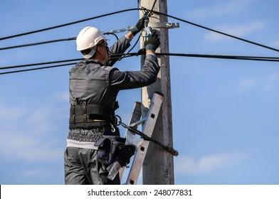 Telephone Engineer At Work