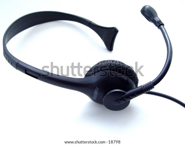 Telephone headset isolated on white background
