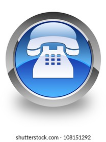 Telephone icon on glossy blue round button