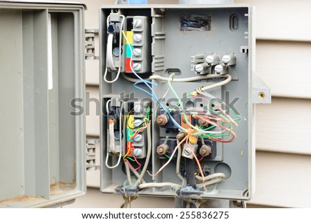 telephone interface box open exposed wires stock photo edit now rh shutterstock com Home Phone Wiring Diagram 4 Wire Phone Jack Wiring Diagram