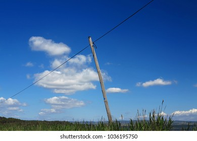 telephone line, overhead line with wooden mast, France