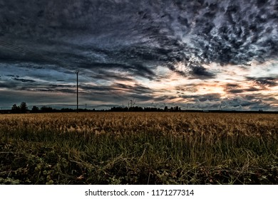The telephone lines cross the barley fields in the rural Finland. The summer sun sets dramatically in the background.