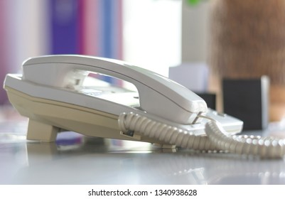 telephone on table,,communication technology concept