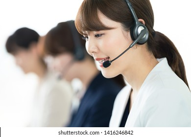 Telephone operator. Call center. Customer support.