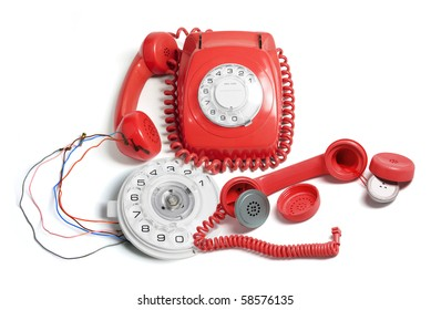 Telephone and Parts on Isolated White Background