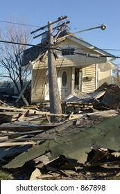 Telephone pole destroys house - 9th Ward New Orleans