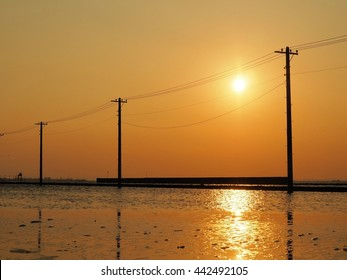 Telephone Pole and Wires at Sunset, Egawa Beach, Japan