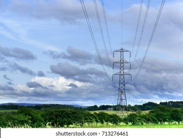 Telephone or power pylon in a field with dramatic cloudy sky
