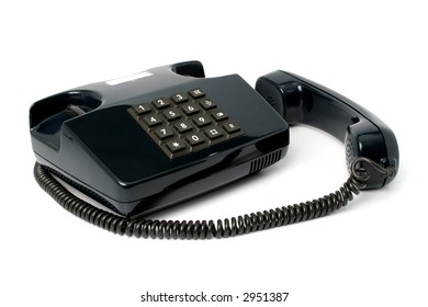 Telephone set of black color, isolated